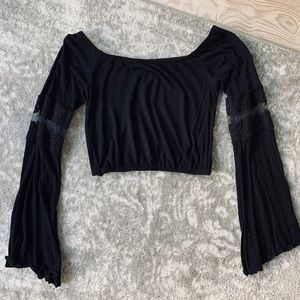 LF Off the Shoulder Bell Sleeve Crop Top